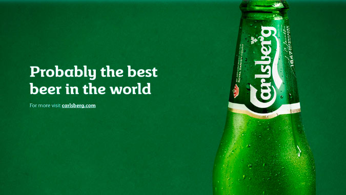 Carlsberg's clever and ironic tagline